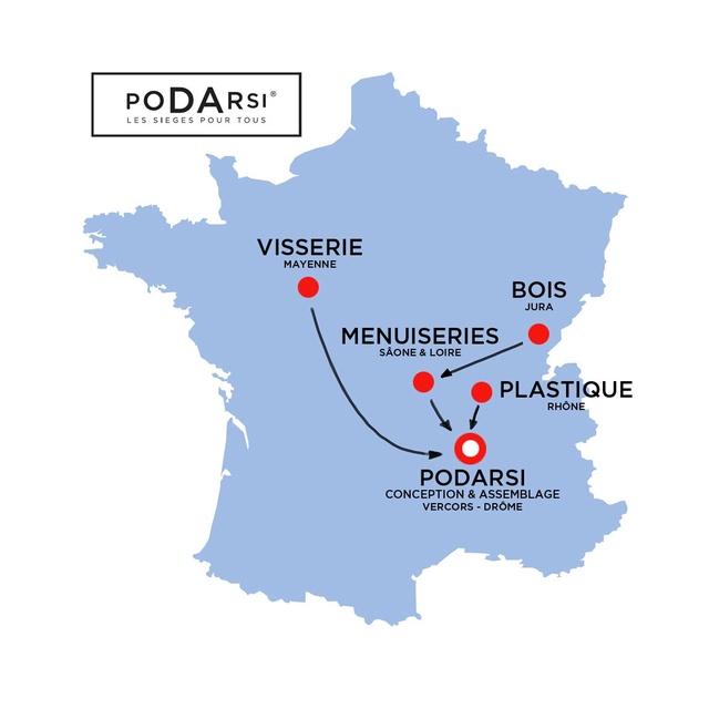 Carte des producteurs des chaises françaises Podarsi