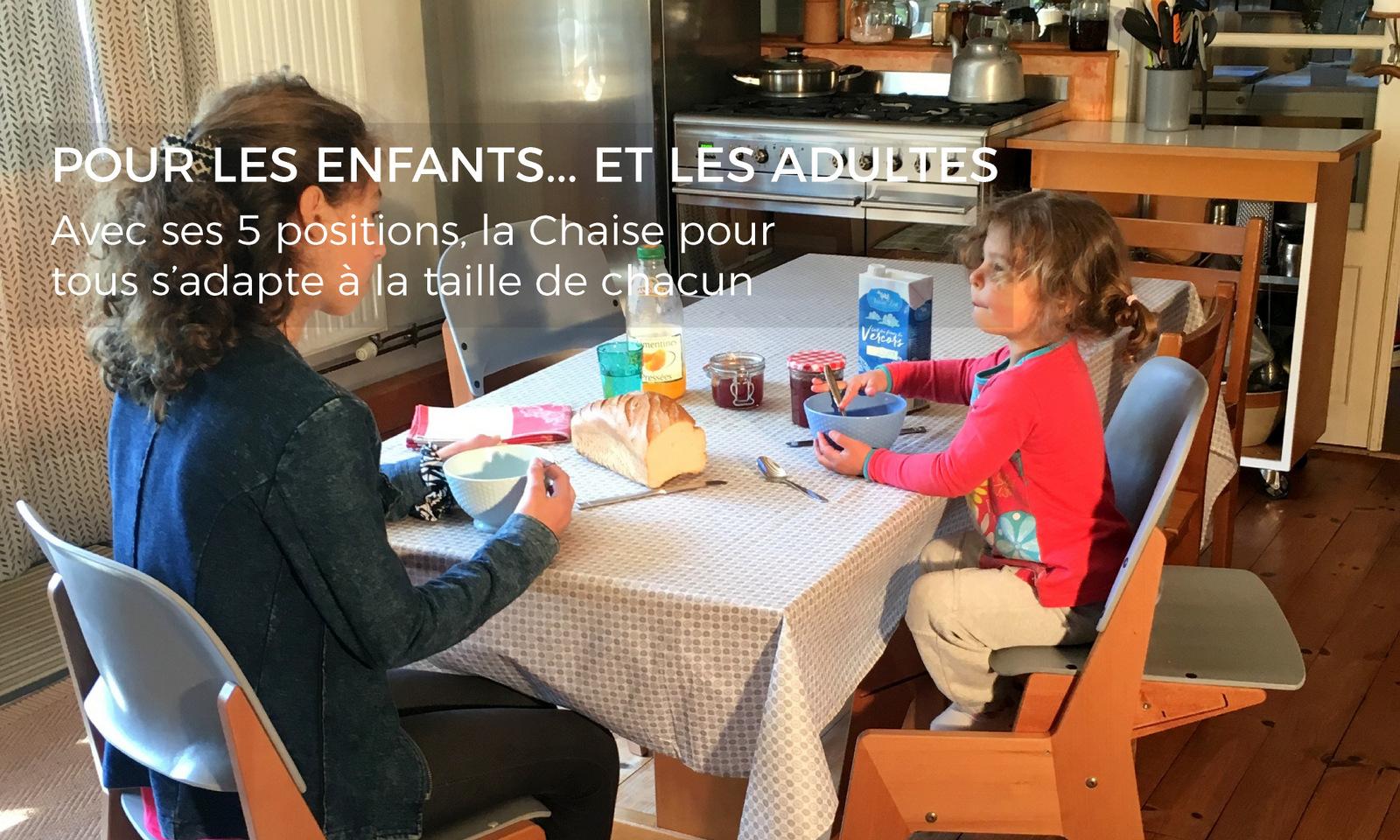 Chaise évolutive pour enfant et adulte : Les Chaises pour tous s'adaptent à la taille de chacun